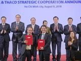 Lễ công bố hợp tác chiến lược của Công ty Cổ phần Hoàng Anh Gia Lai (HAGL) và Công ty Cổ phần Ô tô Trường Hải (Thaco). Ảnh: VGP/Quang Hiếu