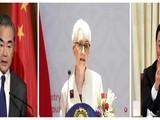 Bà Sherman hôm 26/7 đã có các cuộc gặp gỡ và hội đàm căng thẳng với các ông Vương Nghị (trái) và Tạ Phong tại Thiên Tân (Ảnh: Dwnews).