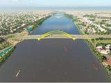 Phối cảnh phương án cầu vòm I156 nhìn về phía hạ lưu sông Hương