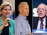 3 ứng cử viên hàng đầu của Đảng Dân chủ tranh cử tổng thống 2020: Elizabeth Warren, Joe Biden và Bernie Sanders. Ảnh: NYPost