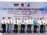 Thủ tướng Nguyễn Xuân Phúc, đại diện lãnh đạo UBND TP. Hải Phòng, Tập đoàn FLC và Hãng hàng không Bamboo Airways cắt băng khai trương 3 đường bay từ Hải Phòng đi Quy Nhơn, Tp. HCM, Cần Thơ.