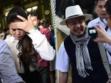 Bà Lê Hoàng Diệp Thảo khóc, còn ông Đặng Lê Nguyên Vũ cười sung sướng sau phán quyết tại phiên tòa chiều 27/3 - Ảnh cắt từ clip ghi hình phiên tòa không xử kín