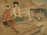 Bức Le Pécheur et Sa Famille (Gia đình ngư dân, lụa, 67cm x 110cm, 1940) của Lương Xuân Nhị bán hơn 13,8 tỷ đồng.