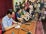 Buổi họp báo thông tin tại UBND quận Cầu Giấy.