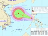 Đường đi và dự báo về cơn bão số 13. Ảnh: NCHMF