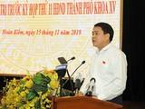 Chủ tịch Hà Nội Nguyễn Đức Chung phát biểu tại buổi tiếp xúc cử tri.