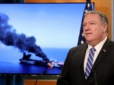Ngoại trưởng Mỹ Mike Pompeo trong buổi họp báo công bố về vụ tấn công tàu trên Vịnh Oman (Ảnh: CNN)