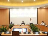 Cuộc họp trực tuyến với 5 thành phố trực thuộc Trung ương về công tác phòng chống dịch COVID-19. Ảnh: UBND TP. HN