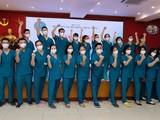 24 bác sĩ, điều dưỡng của BV Tai Mũi Họng Trung ương thể hiện quyết tâm vào TP. HCM chống dịch (Ảnh - BVCC)