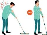 Tư thế lau dọn nhà cửa sai cách dễ dẫn đến bệnh đau lưng. Ảnh minh họa: Internet