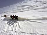 Phủ bạt để ngăn sông băng Presena tan chảy. Ảnh: Internet