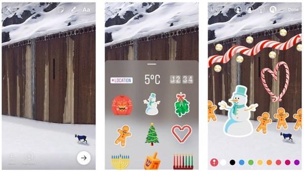 Instagram bắt đầu cập nhật sticker đón Giáng sinh