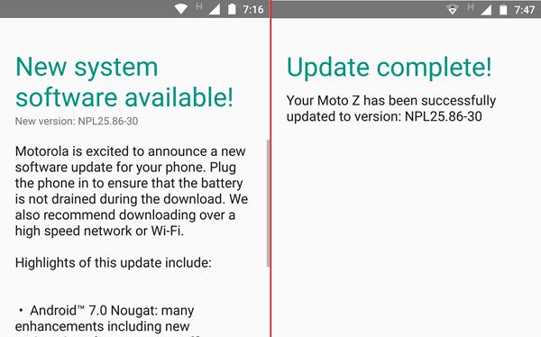Ảnh chụp giao diện màn hình Moto Z khi thông báo có bản cập nhật Android 7.0 Nougat và sau khi hoàn tất việc cài đặt.
