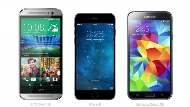 HTC One, iPhone 6 và Samsung Galaxy S5.