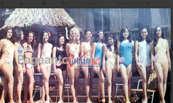 Trần Lệ Hân (ngoài cùng bên phải, số 16) tại cuộc thi Hoa hậu châu Á - Thái Bình Dương năm 1974).