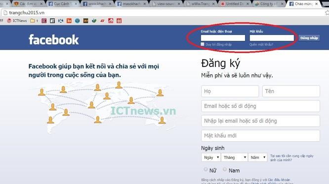 website sử dụng tên miền .vn, giả giao diện giống hệt Facebook có thể khiến nhiều người lầm tưởng đăng nhập dẫn đến bị hack tài khoản.