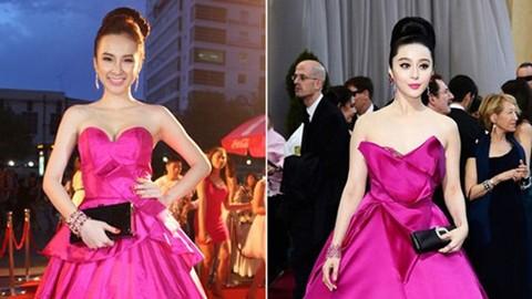 Chiếc váy và phong cách trang điểm của Angela Phương Trinh được coi là bản sao của diễn viên Trung Quốc Phạm Băng Băng