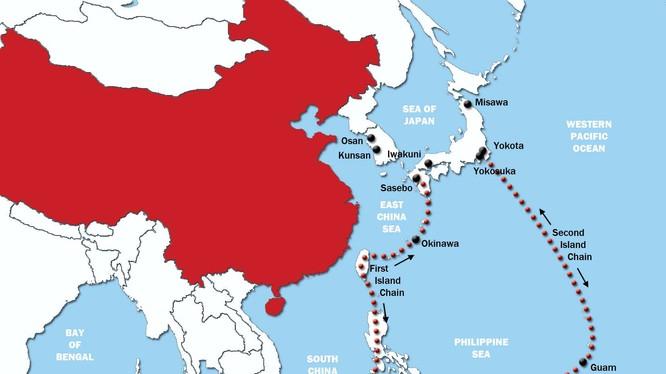 Sơ đồ minh họa chuỗi đảo thứ nhất và chuỗi đảo thứ hai mà Trung Quốc đang đẩy mạnh xây dựng trên biển Đông