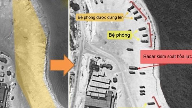 Hình ảnh chụp từ vệ tinh tại Phú Lâm trước và sau khi Trung Quốc triển khai tên lửa - Ảnh: Fox News/Đồ họa:
