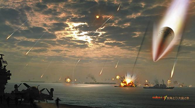 Tướng diều hâu Doãn Trác nhấn mạnh Trung Quốc sẽ khai hỏa để cảnh cáo Mỹ. Dân mạng Trung Quốc thời gian gần đây luôn đưa ra những hình ảnh về kịch bản Trung Quốc tấn công hạm đội tàu sân bay Mỹ như trên (ảnh minh họa)