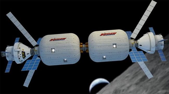 Mô hình trạm không gian hình thành từ 2 mô-đun của BSO (ảnh: Bigelow Aerospace)