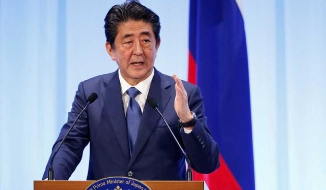 Thủ tướng Nhật Bản Shinzo Abe phát biểu trong cuộc gặp với Tổng thống Nga Vladimir Putin tại Osaka, Nhật Bản ngày 29.6.2019. Ảnh: Bdnews24