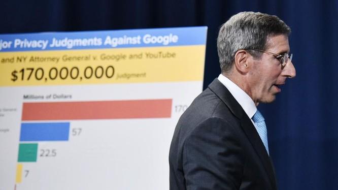 Ông Simons, Chủ tịch Ủy ban Thương mại Liên bang (FTC) tuyên bố trong một cuộc họp báo rằng Google đã đồng ý trả khoản tiền phạt 170 triệu đô la để giải quyết vụ vi phạm quyền riêng tư của trẻ em trên You Tube. Ảnh: Forbers