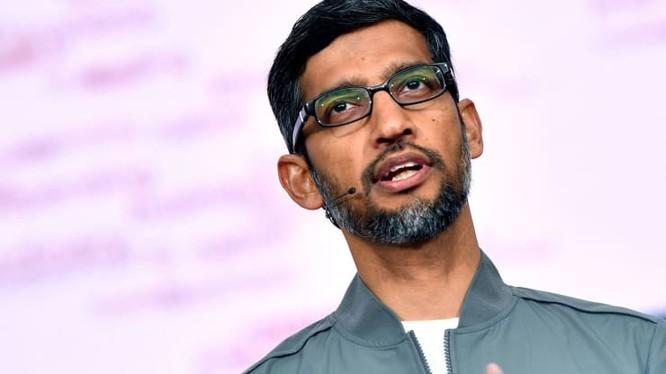 CEO Google Sundar Pichai phát biểu trong phiên thảo luận chính tại Hội nghị Google I/O. Ảnh: CNBC