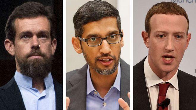 CEO Twitter, Google và Facebook (từ trái qua phải) điều trần trước Quốc hội Mỹ.
