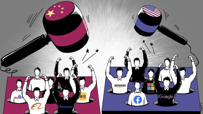 Khác biệt giữa thách thức chống độc quyền Big Tech của Trung Quốc với Google, Amazon, Facebook hay Apple. Ảnh: SCMP