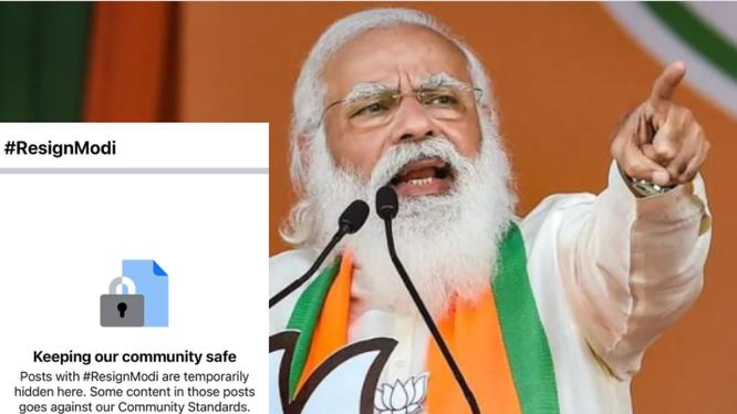 Facebook ẩn bài đăng đòi Thủ tướng Ấn Độ từ chức.