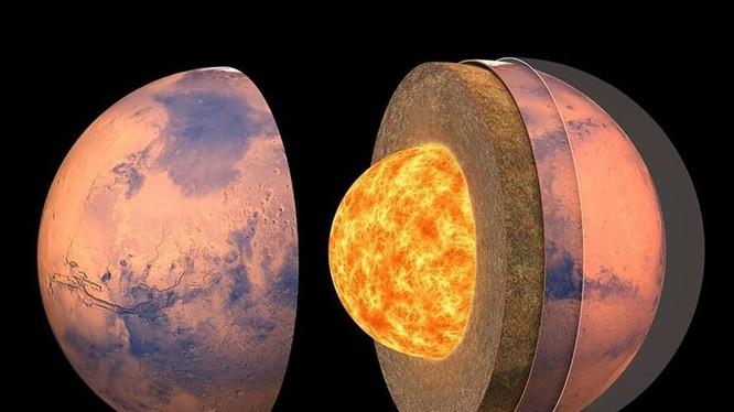 Sao Hỏa có lớp vỏ mỏng, lớp phủ và lõi dày. Ảnh: NASA