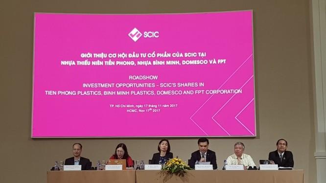 """Buổi Roadshow """"Giới thiệu cơ hội đầu tư cổ phần của SCIC (roadshow) tại 4 doanh nghiệp: DMC, BMP, NTP và FPT"""" (Nguồn: SCIC)"""