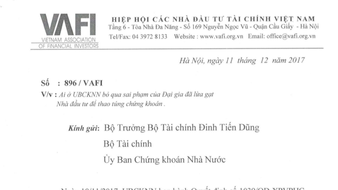 Văn bản của VAFI gửi Bộ trưởng Bộ Tài chính
