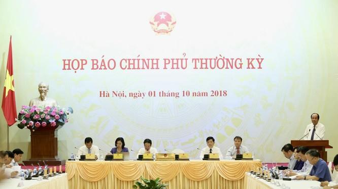 Quang cảnh buổi họp báo Chính phủ thường kỳ tháng 9/2018 (Nguồn: VGP)