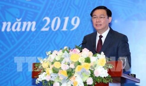 Phó Thủ tướng Vương Đình Huệ đã có những phát biểu chỉ đạo tại Hội nghị trực tuyến toàn quốc tổng kết hoạt động năm 2018 và triển khai nhiệm vụ năm 2019 của ngành kế hoạch và đầu tư (KH&ĐT) - Ảnh: TTXVN