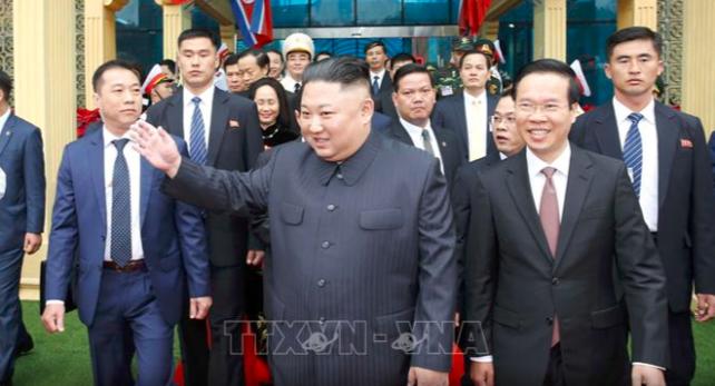 Chủ tịch Triều Tiên Kim Jong-un đã tới ga Đồng Đăng (Lạng Sơn) vào sáng ngày 26/2/2019 (Ảnh: TTXVN)