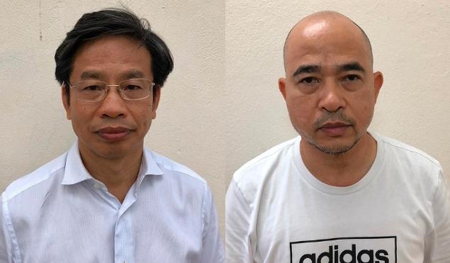 Ông Nguyễn Xuân Sơn (đeo kính) và Vũ Trọng Hải - Ảnh: bocongan.gov.vn