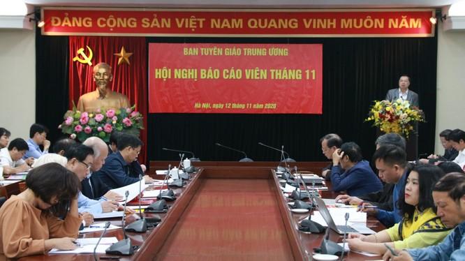 Toàn cảnh Hội nghị báo cáo viên tháng 11/2020 của Ban Tuyên giáo Trung ương (Nguồn: tuyengiao.vn)