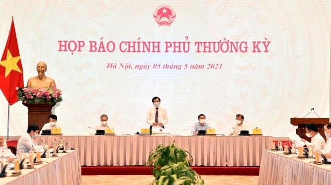Toàn cảnh buổi họp báo Chính phủ thường kỳ tháng 4/2021 (Ảnh: VGP)