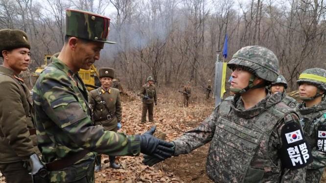 Quân đội Hàn Quốc và Triều Tiên bắt tay nhau sau khi con đường mới mở qua khu vực chiến sự ác liệt khi xưa được kết nối trên cao điểm ở Cholwon.