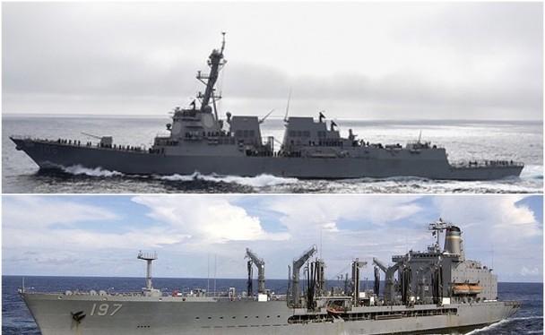 Hai tàu USS Stockdale, DDG-106 (trên) và USNS Pecos, T-AO-197 (dưới) đã đi xuyên eo biển Đài Loan hôm 28.11