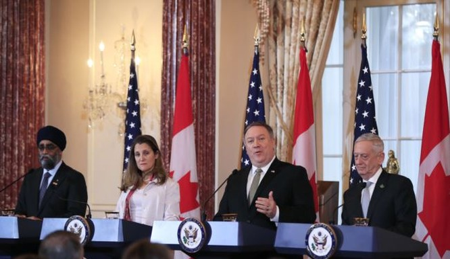 Ngoại trưởng Mỹ Mike Pompeo và Ngoại trưởng Canada Chrystia Freeland nói rằng: Trung Quốc bắt giữ trái phép 2 công dân Canada là hành vi không thể chấp nhận.