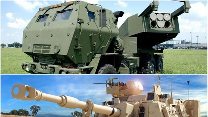 Hai loại vũ khí mà quân đội Đài Loan chuẩn bị mua: Hệ thống pháo phản lực nđa nòng M142 và Pháo tự hành M109A6 Paladin. Ảnh: Đông Phương