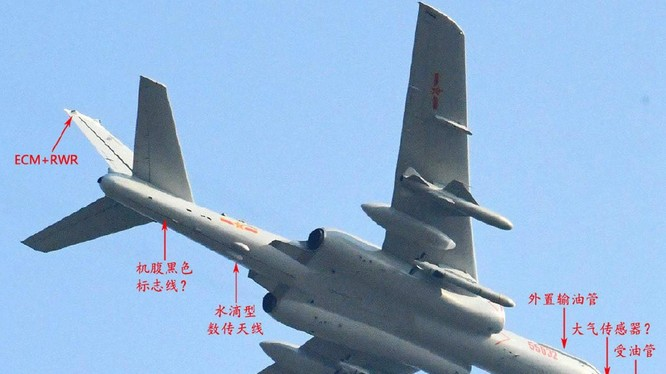 Hình ảnh về chiếc H-6N, mẫu cải tiến mới nhất của loại máy bay ném bom chiến lược H-6 được lan truyền trên mạng. Ảnh: Đa Chiều