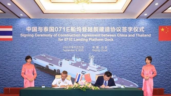 Việc Hải quân Thái Lan ký hợp đồng đặt mua chiếc tàu đổ bộ cỡ lớn Type 71E cho thấy quan hệ quân sự Thái Lan - Trung Quốc ngày càng chặt chẽ. Ảnh: Đa Chiều