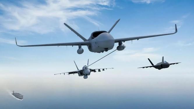 Trong tương lai,Hải quân Mỹ sẽ trang bị máy bay không người lái tiếp dầu trên không cho các máy bay chiến đấu cất hạ cánh trên tàu sân bay