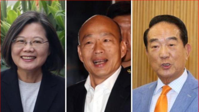 Kết quả các cuộc thăm dò cuối cùng trước khi diễn ra cuộc bầu cử ngày 11/1/2020 cho thấy bà Thái Anh Văn (trái) đang bỏ xa hai đối thủ Hàn Quốc Du (giữa) và Tống Sở Du (phải). (Ảnh:Thế giới Nhật báo)