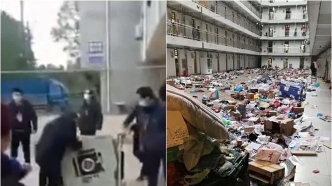 Hình ảnh các nhân viên phòng dịch đập phá (trái) và quăng đồ đạc của học sinh trong ký túc xá xuống sân bị truyền thông phê phán (Ảnh: Đông Phương).