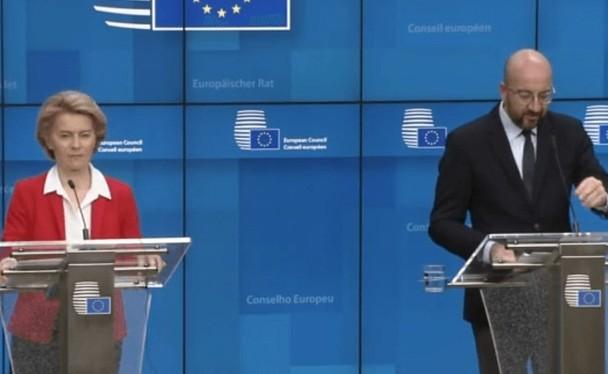Chủ tịch Ủy ban châu Âu Ursula von der Leyen tuyên bố chính thức đóng cửa Liên minh châu Âu (Ảnh: Đông Phương).
